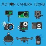 Stile piano stabilito di vettore delle icone della macchina fotografica di azione Fotografia Stock