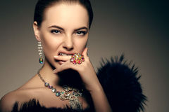 Stile Po di Vogue di alta moda di Girl Beauty Woman del modello di alta moda Immagine Stock Libera da Diritti