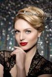 Stile Po di Vogue di alta moda di Girl Beauty Woman del modello di alta moda Immagini Stock