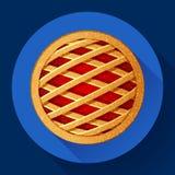 Stile progettato piano dell'icona di vettore della torta di mele Immagine Stock Libera da Diritti