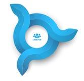 Stile pulito di Infographic del cerchio dell'illustrazione digitale astratta delle frecce 3D Immagine Stock