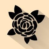 Stile romanzesco disegnato a mano dell'annata di illlustration dell'icona del fiore del nero piano di vettore semplice della rosa royalty illustrazione gratis