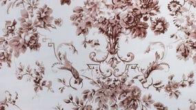 Stile rosso dell'annata del fondo del tessuto del retro modello senza cuciture floreale del pizzo Fotografie Stock