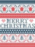 Stile scandinavo del tessuto di Buon Natale senza cuciture, ispirato dal Natale norvegese, modello festivo di inverno in punto tr Fotografie Stock