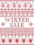 Stile scandinavo di vendita senza cuciture di inverno, ispirato dal Natale norvegese, modello festivo di inverno in punto trasver Fotografie Stock Libere da Diritti