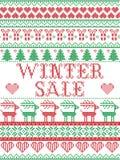 Stile scandinavo di vendita senza cuciture di inverno, ispirato dal Natale norvegese, modello festivo in punto trasversale con la Immagini Stock Libere da Diritti