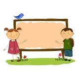 Stile semplice del fumetto dell'insegna verticale del ragazzo e della ragazza di scuola Immagini Stock Libere da Diritti