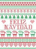Stile senza cuciture di Feliz Navidad Scandinavian, ispirato dal Natale norvegese, modello festivo di inverno in punto trasversal illustrazione vettoriale