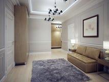 Stile spazioso di art deco di corridoio Immagini Stock