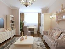 Stile spazioso di rinascita della camera da letto Immagine Stock Libera da Diritti
