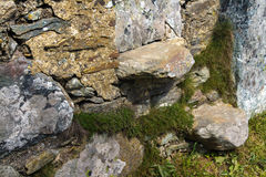 Stile, style, cantilevered steps in dry stone wall Stock Photo