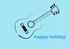 Stile sveglio della spazzola di arte della chitarra nelle belle illustrazioni di vettore di festa illustrazione vettoriale