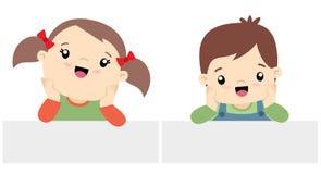 Stile sveglio di Kawaii della ragazza e di Little Boy con l'illustrazione piana stabilita di vettore dell'insegna isolata su bian Fotografia Stock