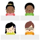 Stile sveglio di Kawaii delle ragazze e dei ragazzini con l'illustrazione piana stabilita di vettore dell'insegna isolata su bian Fotografia Stock Libera da Diritti