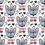Stile sveglio Merci del francese del cane Progettazione di superficie senza cuciture Schizzo disegnato a mano di vettore isolato  illustrazione di stock
