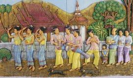 Stile tailandese del cemento di sollievo basso Fotografia Stock