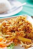 Stile tailandese del sud fritto nel grasso bollente del pesce Immagine Stock Libera da Diritti