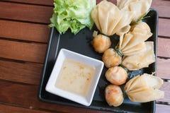 Stile tailandese dell'alimento: & x22; Borsa dei soldi o borsa di gold& x22; Arte tailandese tradizionale Immagini Stock