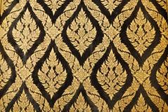 Stile tailandese ingenuo di lacca nera dorata Immagine Stock