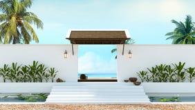 Stile tailandese locale della rappresentazione tropicale della spiaggia 3d Fotografia Stock