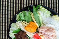 Stile tailandese Shabu o materia prima dell'ingrediente di Sukiyaki Immagini Stock