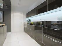 Stile techno della cucina in bianco e nero Fotografie Stock