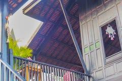 Stile tradizionale tailandese delle case lungo il canale, hist di Mueang Mallika fotografia stock libera da diritti