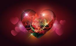 Stile trasparente di vetro e della rosa rossa del cuore lowpoly sul fondo del bokeh del cuore con il concetto di giorno del ` s d Fotografia Stock Libera da Diritti