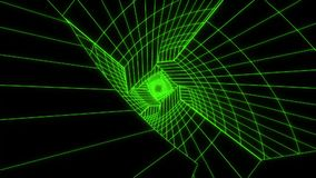 stile V2 di VHS del fondo di Loopable del tunnel di Digital di fantascienza di verde 3D royalty illustrazione gratis