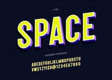 Stile variopinto di tipografia audace di carattere 3d dello spazio vettoriale royalty illustrazione gratis