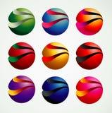 stile variopinto e moderno grafico degli oggetti di simbolo della palla 3D, Fotografia Stock