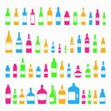 Stile variopinto stabilito dell'icona di vetro e delle bottiglie Illustrazione di Stock