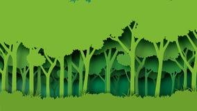 Stile verde di arte della carta della foresta illustrazione di stock
