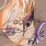 Stileer meisjesgezicht met met violette bloemen royalty-vrije illustratie