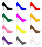 Stiletto Heel Shoe Icons. A collection of a dozen stiletto heel shoe icons Stock Photo