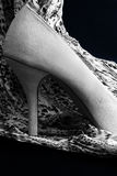 Stiletto heeled shoe. A black and white photo of a high heeled shoe and  scarf Stock Photos