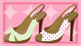 Stiletto heels. Gingham and polka dot patterned high heel shoes Royalty Free Stock Image