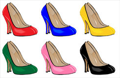 Stiletto Heels. A collection of stiletto heel shoes isolated on a white background Stock Photos