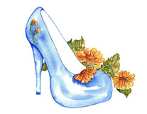 Stiletto High Heels Blue with Daisies Watercolor Royalty Free Stock Photos