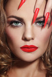 Stiletto nails. Close-up portrait of young beautiful woman with red lipstick and long stiletto nails stock photos