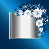 stilfull blå blom- ram Arkivfoton