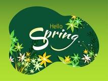 Stilfull bokstäver av den Hello våren med härliga blommor som dekoreras på gräsplan royaltyfri illustrationer