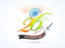 Stilfull bokstäver av 26 Januari med det Ashoka hjulet för lyckliga Repu vektor illustrationer