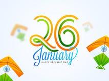 Stilfull bokstäver av 26 Januari med indiska flaggastildrakar på suddig bakgrund för lycklig affisch för republikdagberöm royaltyfri illustrationer