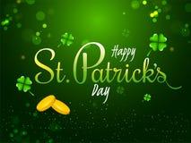 Stilfull bokstäver av lyckliga Sts Patrick dag med guld- mynt på grön bakgrund stock illustrationer
