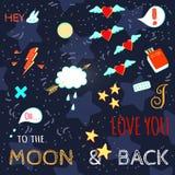 Stilfull bokstäverillustration för klotter på förälskelsetema Arkivfoton