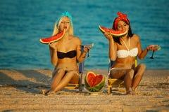 Stilfull damtoalett på havet med vattenmelonen arkivbilder