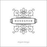 Stilfull elegant monogram, mono linje konstdesign Fotografering för Bildbyråer