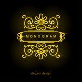 Stilfull elegant monogram, mono linje konstdesign Arkivbild