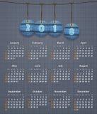 Stilfull engelsk kalender för 2018 på linnetextur med jeans ta Arkivfoto